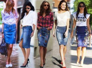 Женская джинсовая одежда юбки