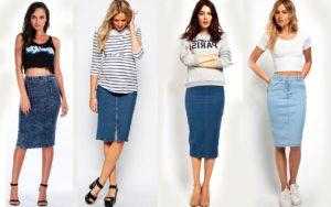 Женская джинсовая юбка выстраивает пропорции тела