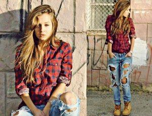 Клетчатая рубаха и рваные джинсы - базовые вещи в стиле гранж