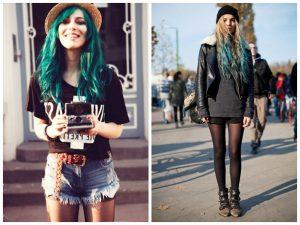 Стиль гранж допускает волосы с зеленым, синим, красным и серым отливом