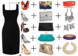 Комбинирование маленького черного платья с различными аксессуарами
