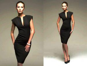 Современное маленькое черное платье фасона футляр