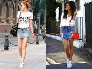 В соблазнительной мини юбке из джинсовой ткани девушка произведет фурор в любом месте