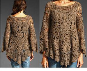 Вязаная туника в стиле бохо является очень комфортным, практичным и удобным вариантом одежды