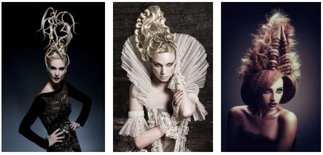 В стиле авангард макияж и прически выполняются асимметрично, волосы фиксируются вопреки всем законам физики