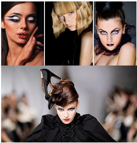 В стиле авангард макияж и прическа выполняются асимметрично