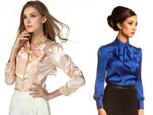 Однотонная блузка в стиле Шанель с бантом придаст яркий акцент образу