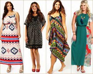 Платьям и сарафанам в стиле бохо удается подчеркнуть грацию и красоту фигуры у полных девушек