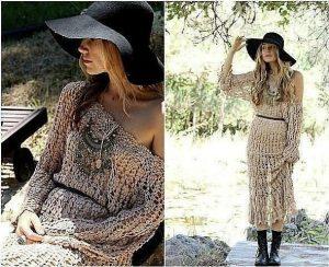 Вязаные платья в стиле бохо идут большинству женщин и помогают создать неповторимый лук