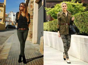 Скинни стиля милитари от других обтягивающих брюк отличает цвет, свойственный военной форме