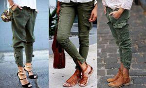Брюки в стиле карго сочетаются с любой обувью