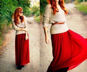 С юбками миди  можно комбинировать джемпер в стиле оверсайз, демонстрируя свою изящность