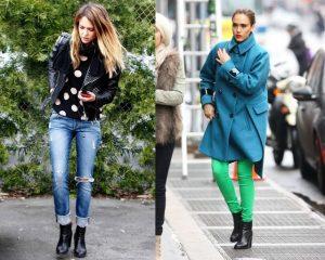 Цветовые решения в повседневной одежде Джессики Альбы также не отличаются пестротой