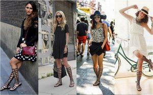 Босоножки в греческом стиле отлично сочетаются с платьями или юбками до колена