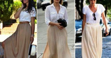 Длинная бежевая юбка