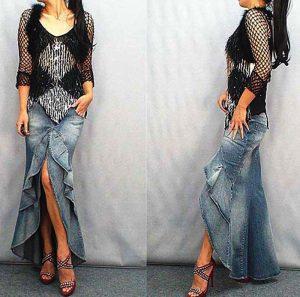 Джинсовая асимметричная юбка легко сочетается с любой одеждой