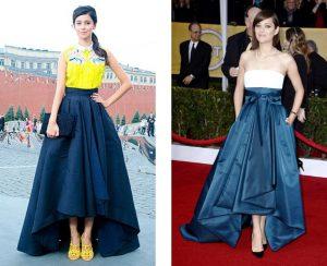 Длинная асимметричная юбка со шлейфом подходит исключительно для торжественных случаев