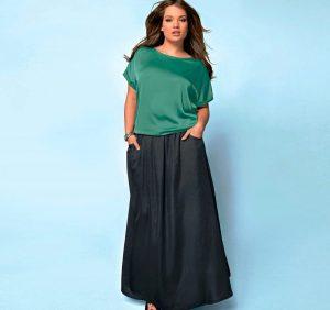 Длинная юбка в базовом гардеробе для полных женщин - это первый шаг к стильному образу!
