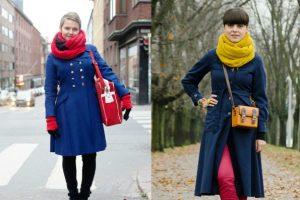 К пальто в стиле милитари стоит подбирать аксессуары и одежду ярких цветов, которая придаст утонченность и напомнит о женственности