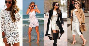 Белое платье одинаково роскошно выглядит на пляжных прогулках в жаркий день и под расстегнутом пальто в пасмурную осеннюю погоду