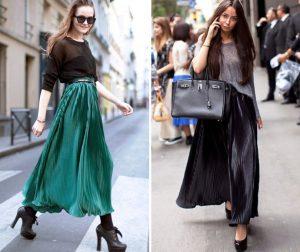 Длинная плиссированная юбка хорошо сочетается с массивной обувью