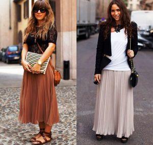 При правильном подходе длинная модель юбки с плиссировкой принимает универсальный характер