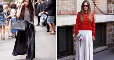 С чем носить длинную плиссированную юбку