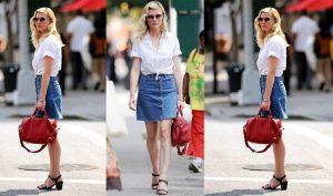 Короткая юбка должна быть сшита из мягкой однотонной джинсовой ткани