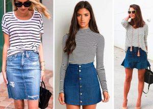 Комплект короткой юбки из денима с тельняшкой особенно популярен в курортных зонах, ведь это наряд для отдыха, исполненный в морском стиле