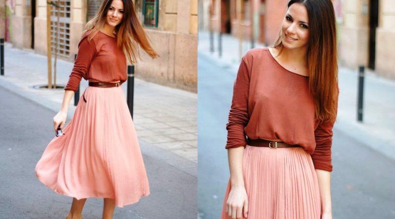 Розовая юбка плиссе с чем носить