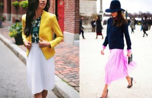 Правильное стилевое сочетание плиссированной юбки миди с другой одеждой гарантирует эффектный и гармоничный образ
