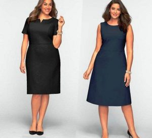 Платье-футляр хорошо скрывает полноту и придает деловому образу женственности
