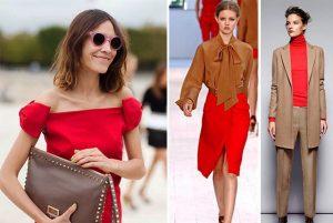 Сочетание коричневого и красного цветов создает эффектный неповторимый образ
