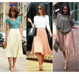 Плиссированная юбка средней длины - одна из самых популярных моделей этого сезона