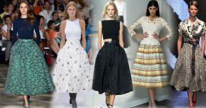 Кристиан Диор ввел в модный обиход юбку колокол длиной миди, это особенно подчеркивает женскую стройность и талию