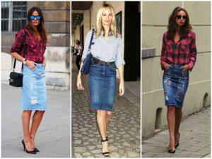 Синяя джинсовая юбка – это незыблемая классика, такой предмет гардероба будет незаменим для повседневной носки.