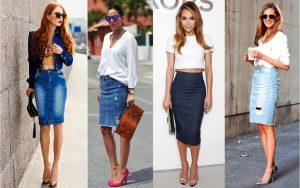 Зауженная джинсовая юбка, однотонный объемный верх - деловой образ готов