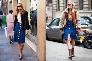 Пуговицы делают джинсовую юбку-карандаш оригинальной и стильной, поэтому она сочетается практически с любым верхом