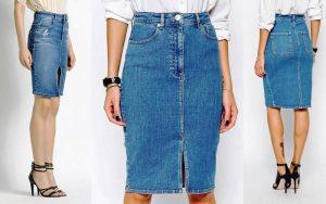 Джинсовая юбка-карандаш с завышенной талией делает фигуру стройнее и зрительно добавляет рост