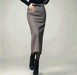 В деловом стиле длинная шерстяная юбка должна быть однотонной