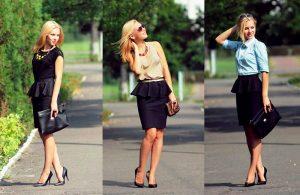 Строгая юбка, украшенная вверху воланом, смотрится очень эффектно и незаменима в деловом образе