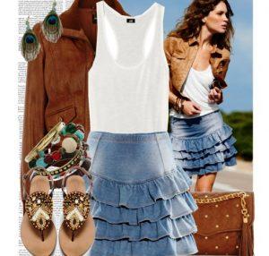 Юбка из денима - универсальный в применении предмет одежды, способный в комплекте с простой футболкой и кедами создать образ для дневной прогулки, а с красивой блузкой и босоножками — наряд для романтической встречи