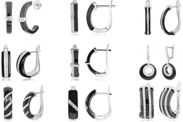 Серьги из серебра с керамикой от Талісман Світ Срібла