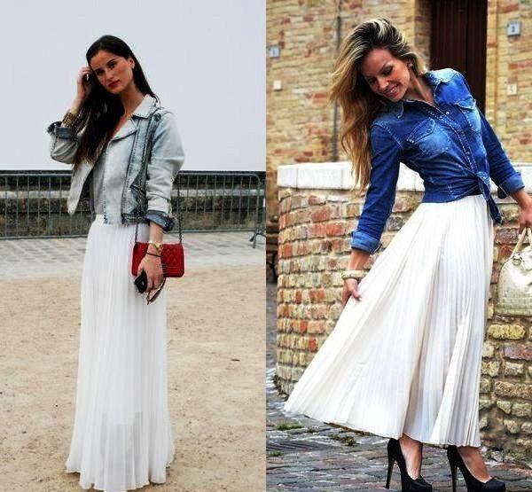 Белая длинная плиссированная юбка смотрится очень нарядно
