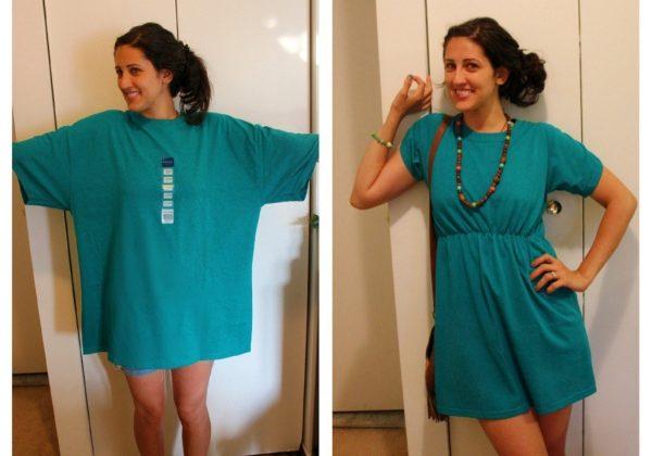 Оригинальный женский наряд из мужской футболки готов!