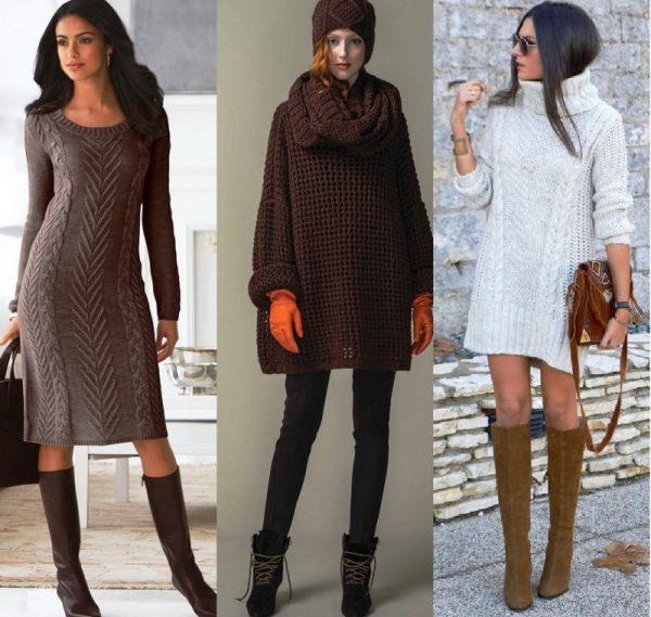 Вязаное платье-свитер завоевывает все большую популярность