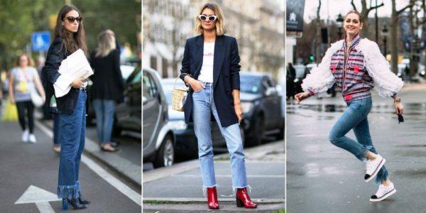 Джинсы, украшенные бахромой, хорошо сочетаются с обычными футболками и блузками. В прохладную погоду образ можно дополнить кожаной курткой, причем она тоже может быть украшена бахромой