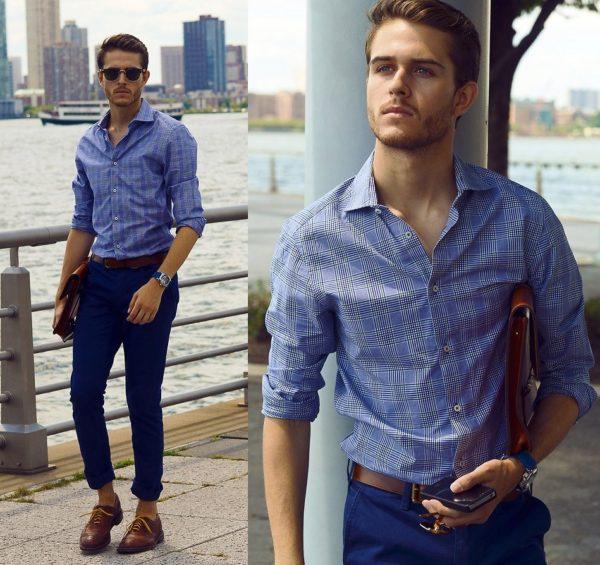 С джинсами сочетается практически любой фасон рубашки