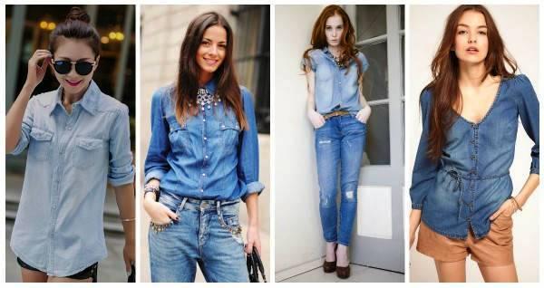 Женская джинсовая рубашка всегда найдет себе ансамбль