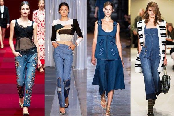 Женская джинсовая одежда, деним